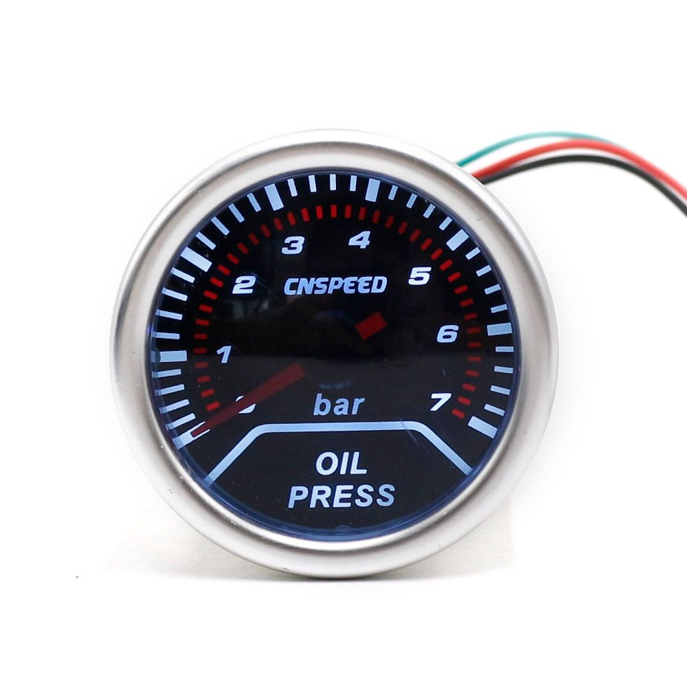 CNSPEED 252mm 12V Car Auto Oil Press Gauge 0-7Bar Oil Pressure Guage With Sensor Smoke Lens Racing White LED Car Pressure Meter