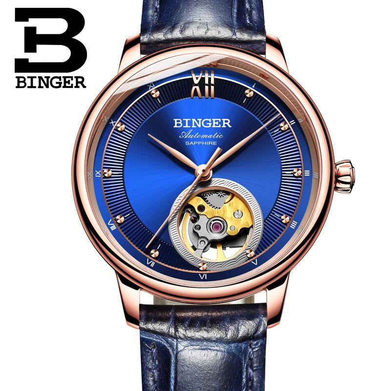 Schweiz BINGER frauen uhren Ultra-dünne Japan 90S5 Automatische Movemt Tourbillon sapphire Mechanische Armbanduhren B-1180W-2