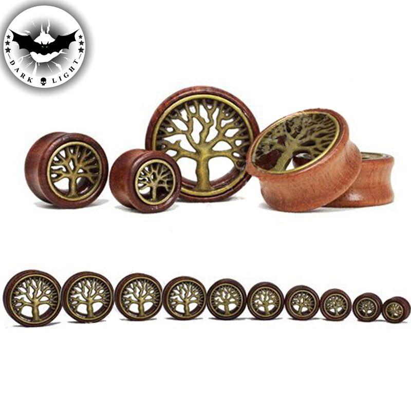 Pair WOOD Brass Tree of Life Ear Tunnel Ear Reamer Gauges Saddle Ear Plugs 2016 Hot Body Piercing Jewelry 8-20mm