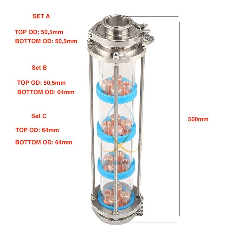 NEW Copper bubble plates Distillation Column with 4 section for distillation Glass column