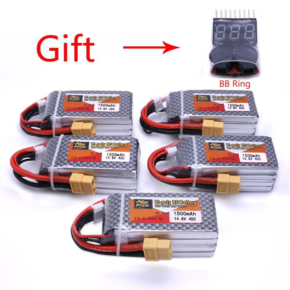 5 шт. ZOP Мощность 14.8 В 1500 мАч 4S 40C lipo Батарея XT60 Plug Перезаряжаемые Батарея