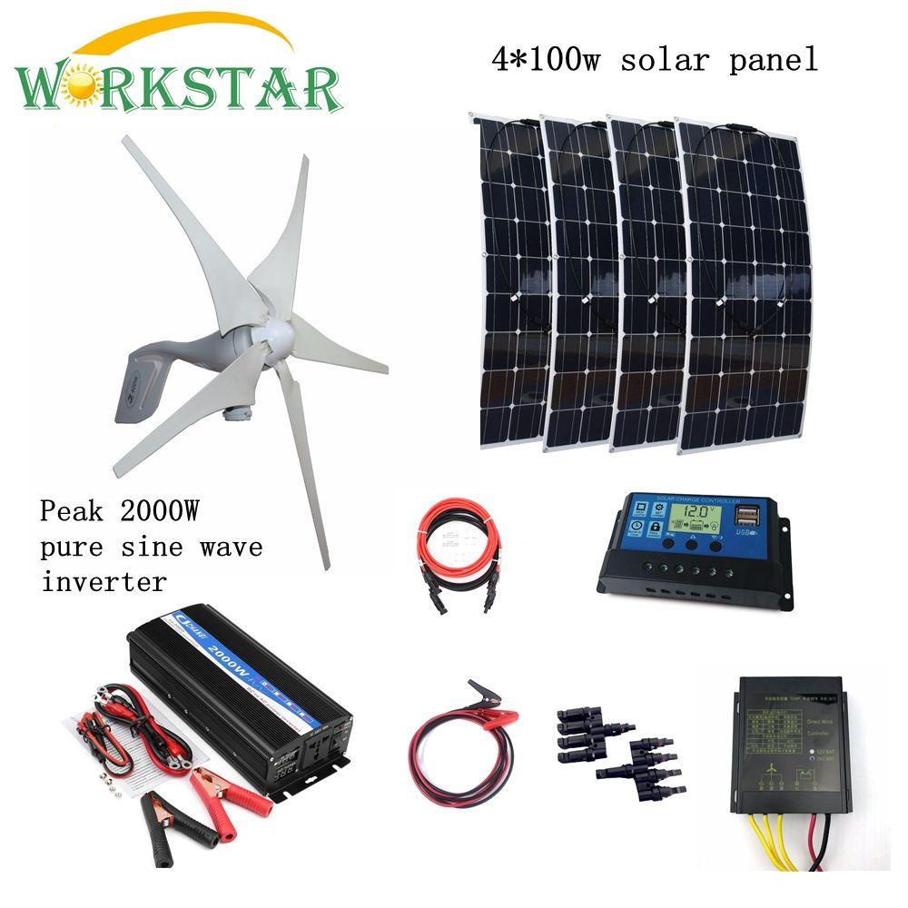 400 W Wind Generator + 4*100 W Solar Panels Module mit Spitzen 2000 W Inverter + 12 V /24 V Controller 800 W Houseuse Wind Solar System
