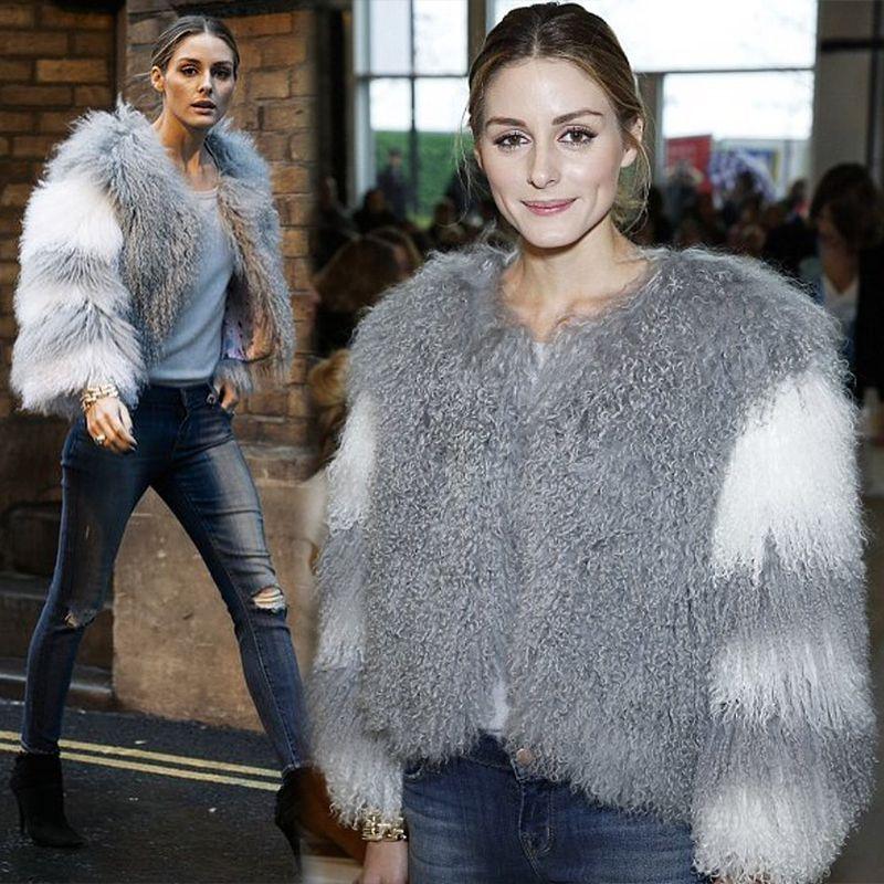 NEW Design Olivia's Womens Lamb Fur Coat Tan Sheep Fur Coats Short Sheep Skin Jacket 55cm Mongolia Sheep Fur In Real Fur Coat