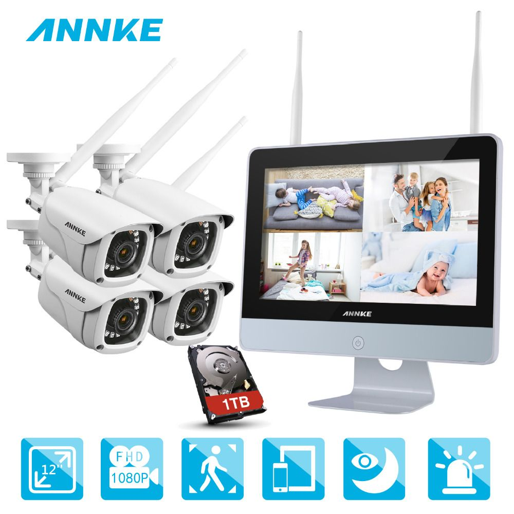 ANNKE NVR Kit 4 Cameras 1080P 4CH wireless WIFI NVR IP Network CCTV Security Camera System Surveillance Kit IP66 indoor outdoor