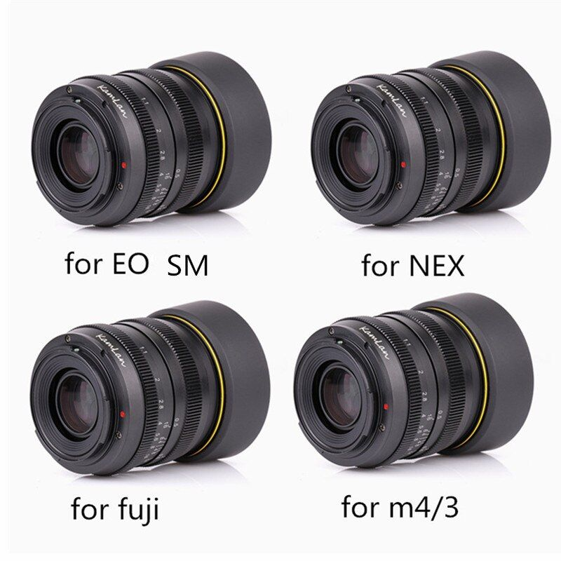Kamlan lens 50mm F1.1 APS-C Large Aperture Manual Focus Lens For Canon EOS-M NEX Fuji X M4/3 Cameras With lens Hood