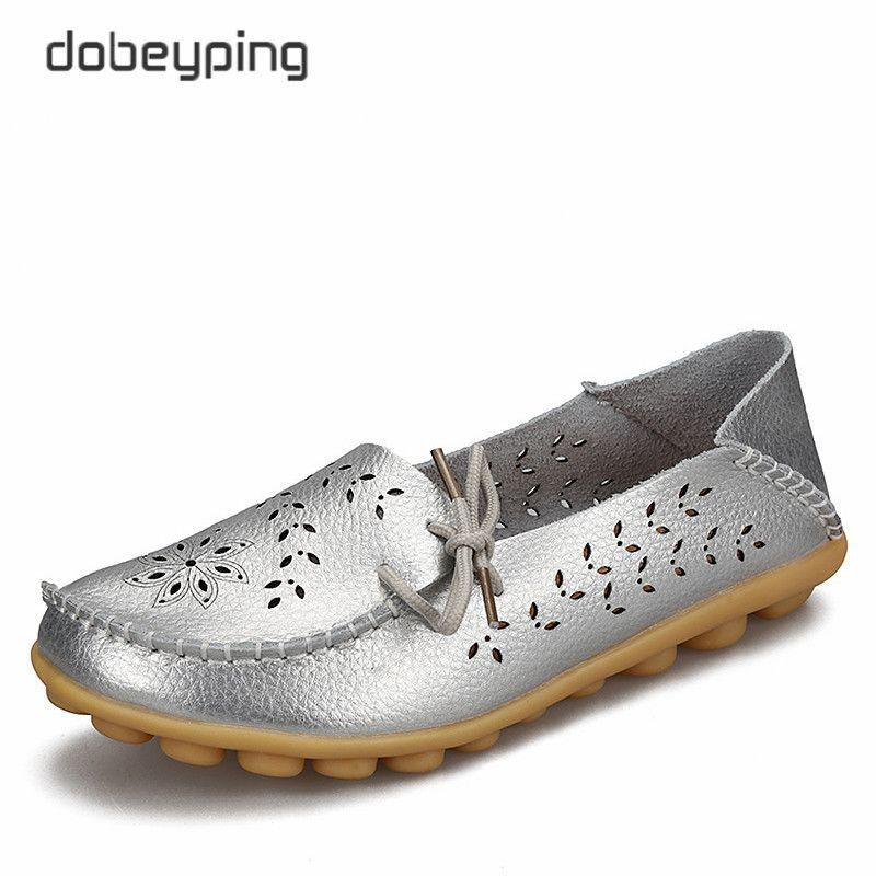 Femmes chaussures décontractées en cuir véritable femme mocassins sans lacet femmes appartements mocassins dames conduite chaussures découpées chaussures mères