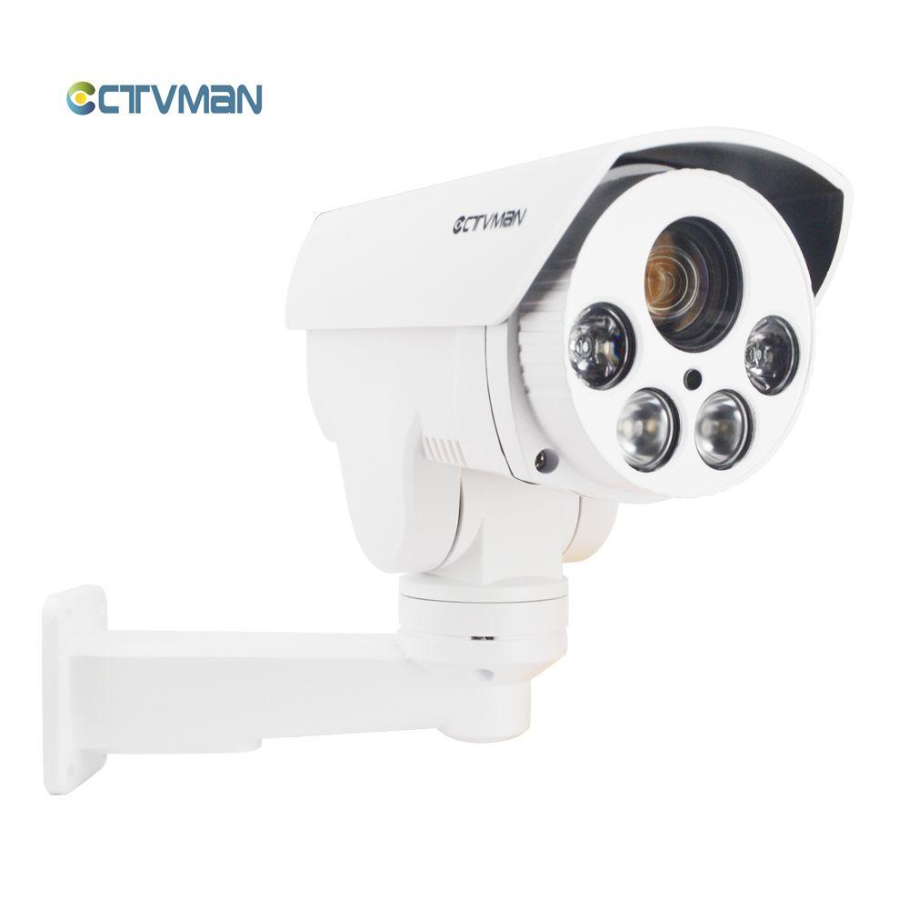 CTVMAN PTZ IP Cameras POE Outdoor 1080P 10X Zoom IR 80M Night Vision SD Card Slot Security Onvif External Cam For smartphone P2P