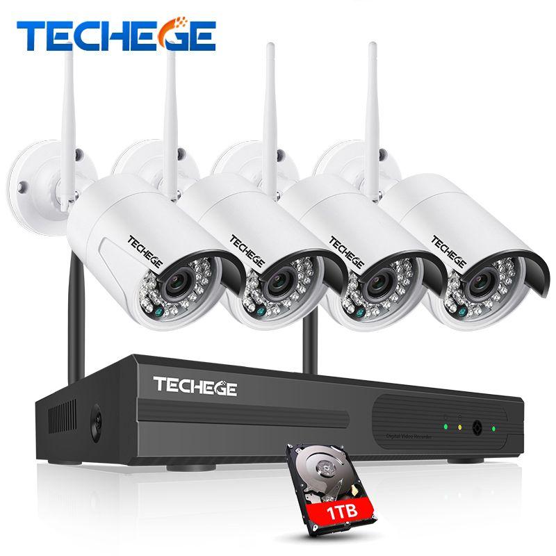 Techege 4CH 1080 P Drahtlose 1 TB HDD NVR CCTV System 1.0MP WIFI Ip-kamera Wasserdicht IP66 wifi Kamera 4CH NVR System Kamera System