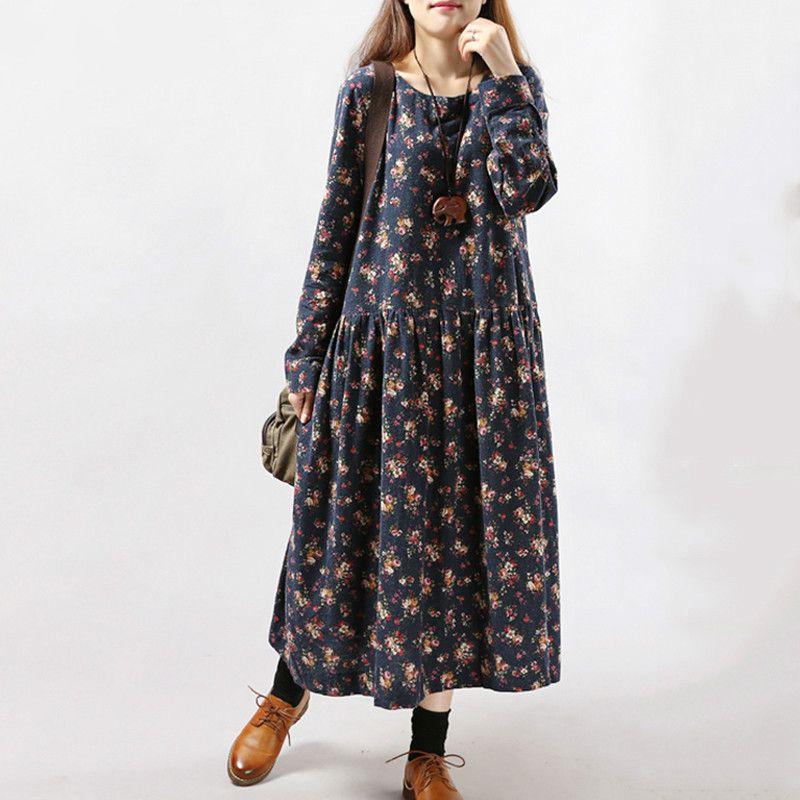 2019 nouvelles femmes robes automne hiver Vintage impression décontracté à manches longues rétro coton Maxi Robe tunique florale grande Robe de grande taille