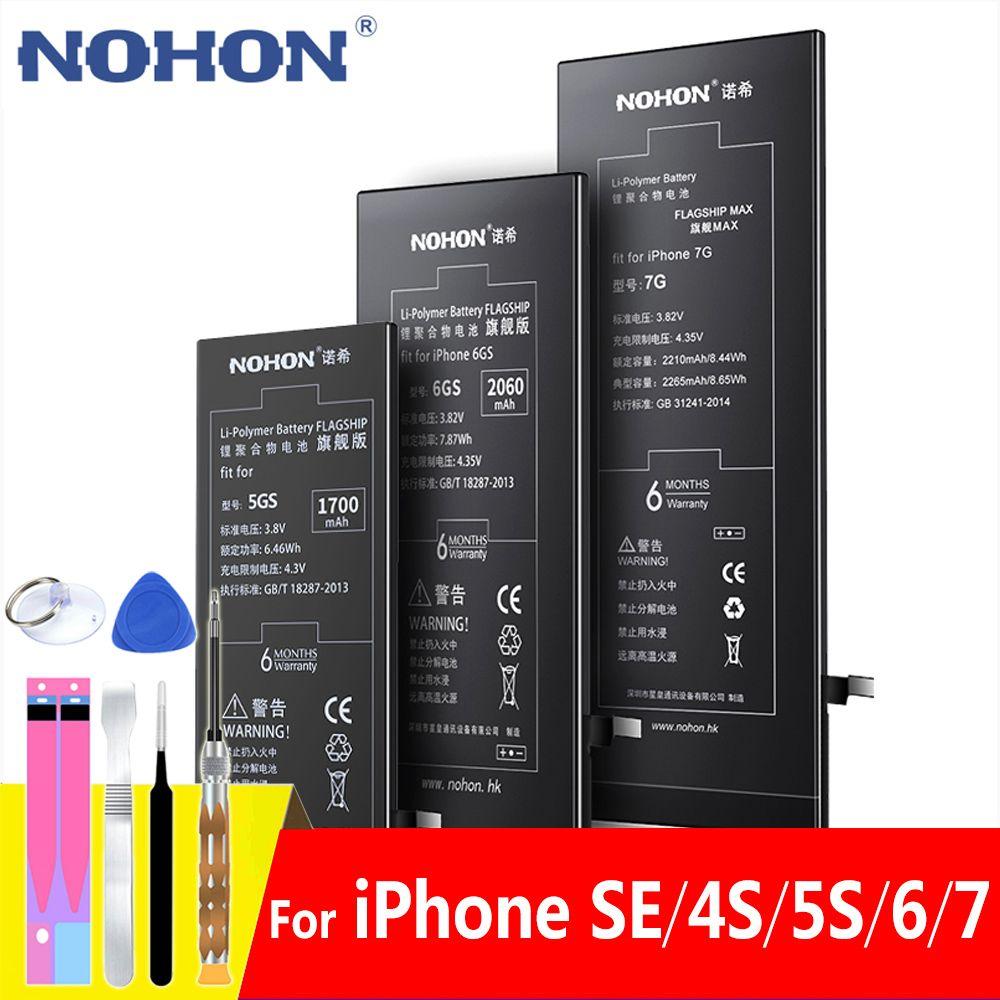 Batterie NOHON pour Apple iPhone SE 6S 5S 6 7 batterie de remplacement pour iPhone iPhone 6 iPhone7 iPhone5S Batteries de téléphone portable