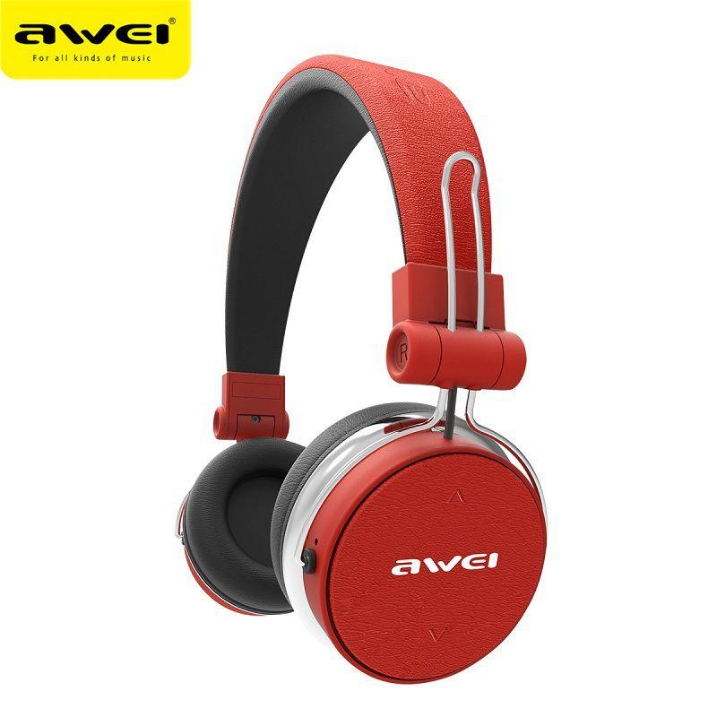AWEI A700BL Bluetooth Headphones Wireless Stereo Super Deep Wireless Headset Subwoofer With Touch Button PU Earmuffs Headband