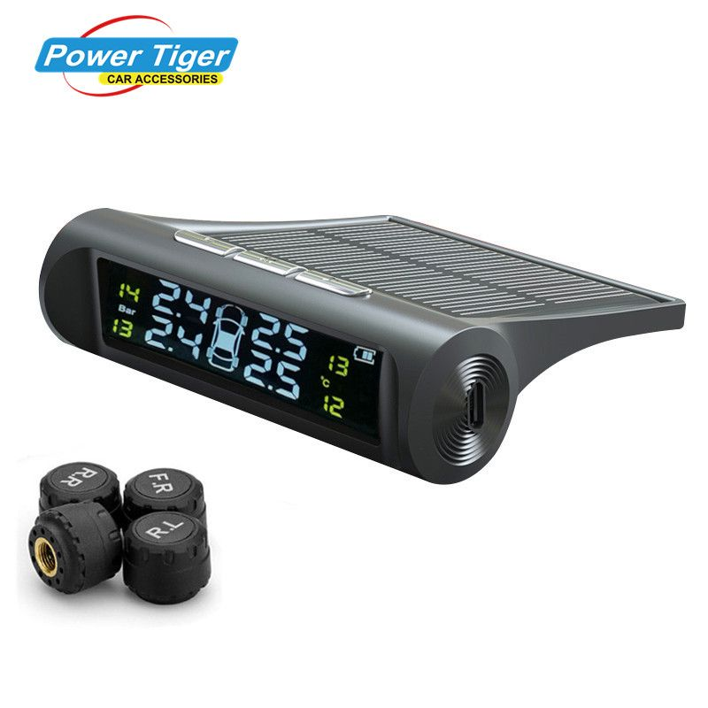 2018 New Solar Power TPMS Wireless Tire Pressure Monitoring System Car tyre pressure alarm System With LCD color display