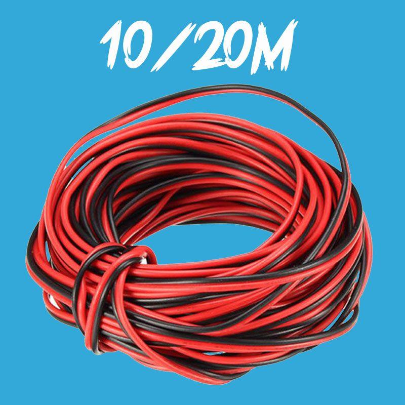 10 M 20 M 2 broches 2PIN LED câble d'extension câble LED bande câble rouge noir fil cordon connecter pour 5050 3528 LED bande bande