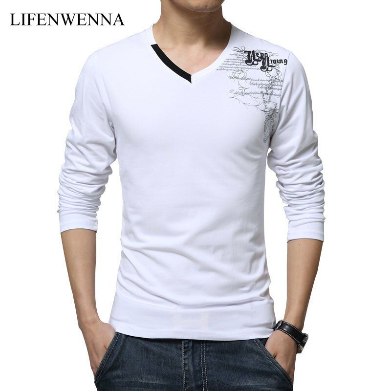 T Shirt Hommes À Manches Longues Nouvelle Mode 2017 Impression de Printemps Hommes marque Vêtements Casual Slim Col V En Coton T shirt Homme T-shirts M-5XL