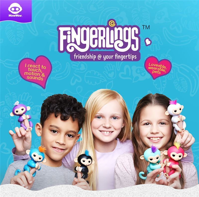 Fingerlings Interactive Baby Monkeys Full Function WowWee Smart Toy Colorful Finger Lings Induction Toys For Kid Christmas Gift