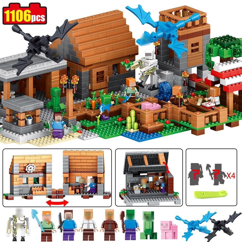 1106pcs Minecrafted model village dragon figures Building Blocks set Compatible Legoed city Enlighten Bricks Toy for children