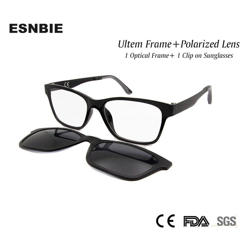ESNBIE nouvelle mémoire Ultem Nerd lunettes cadre avec Clip magnétique sur lunettes de soleil polarisées lentille femmes hommes lunettes myopes