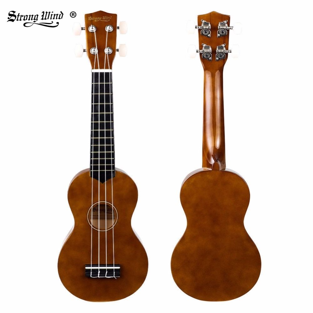 Strong Wind Ukulele 21 Inch Soprano Ukulele Mini Acoustic Guitar Hawaii Ukulele for Beginner Kids Brown Blue with Bag, Strings