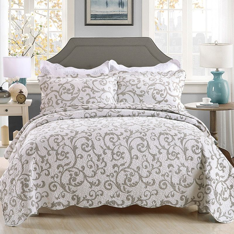 CHAUSUB Quality Quilt Set 3PCS Washed Cotton Quilts Bedspread Quilted Bed Cover Pillow Shams Printed Coverlet Set King Size