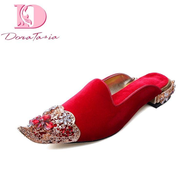 DoraTasia Grande Taille 34-43 marque conception Femmes Chaussures cristaux top qualité mode en peau de mouton Femmes Mules appartements Chaussures femme