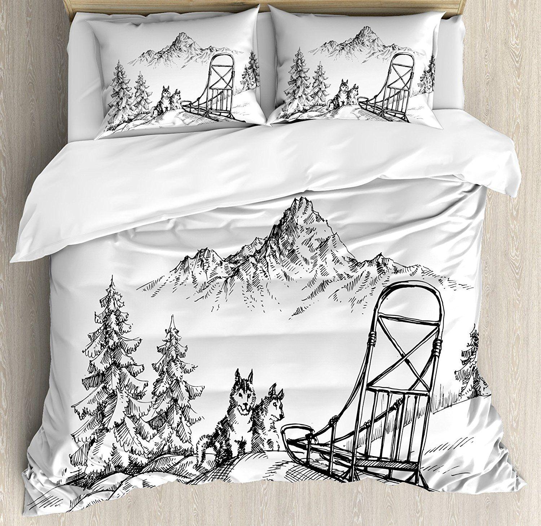 Angedockt Malamute Bettbezug Set Berglandschaft in Winter Rodeln Hunde Pinien Wildnis Kunst Bettwäsche Set Schwarz Weiß