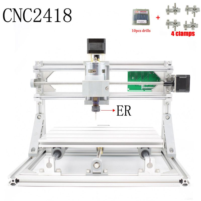 CNC 2418 ER11 GRBL control Diy CNC machine,working area 24x18x4.5cm,3Axis pcb pvc Milling machine,Wood Router Engraver