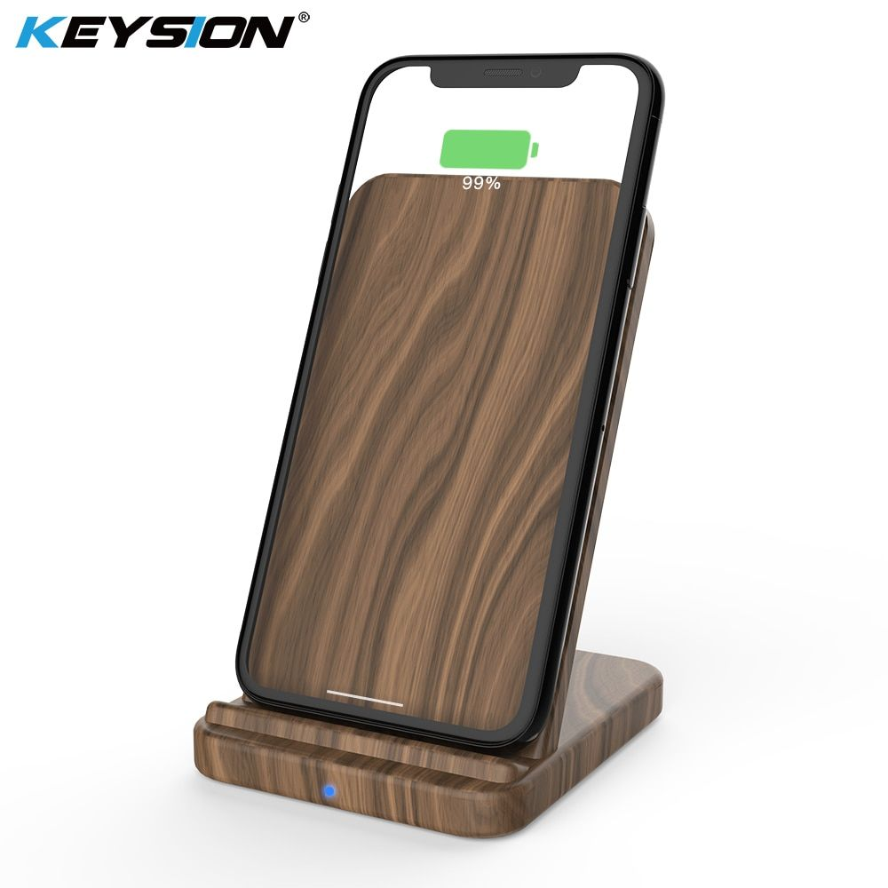 KEYSION 10W 7.5W Qi Wireless Charger for iPhone XS Max XR 8 Plus Wood fast Wireless Charger Charging Stand for Samsung S9 NOTE 9