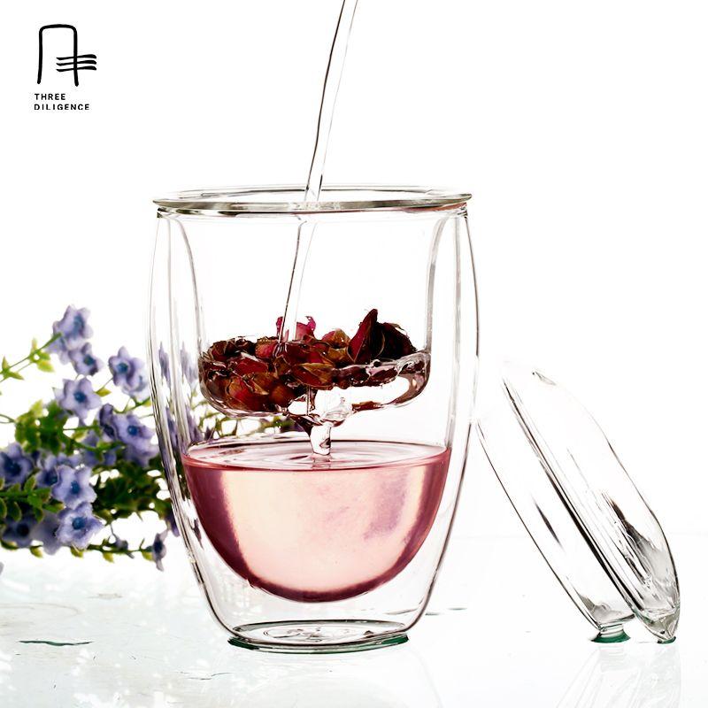 Populaire À double paroi En Verre Tasse de Thé avec Filtre 250 ml Verre jasmin thé tasse Résistant À La Chaleur Portable Bureau Pot infuser verres