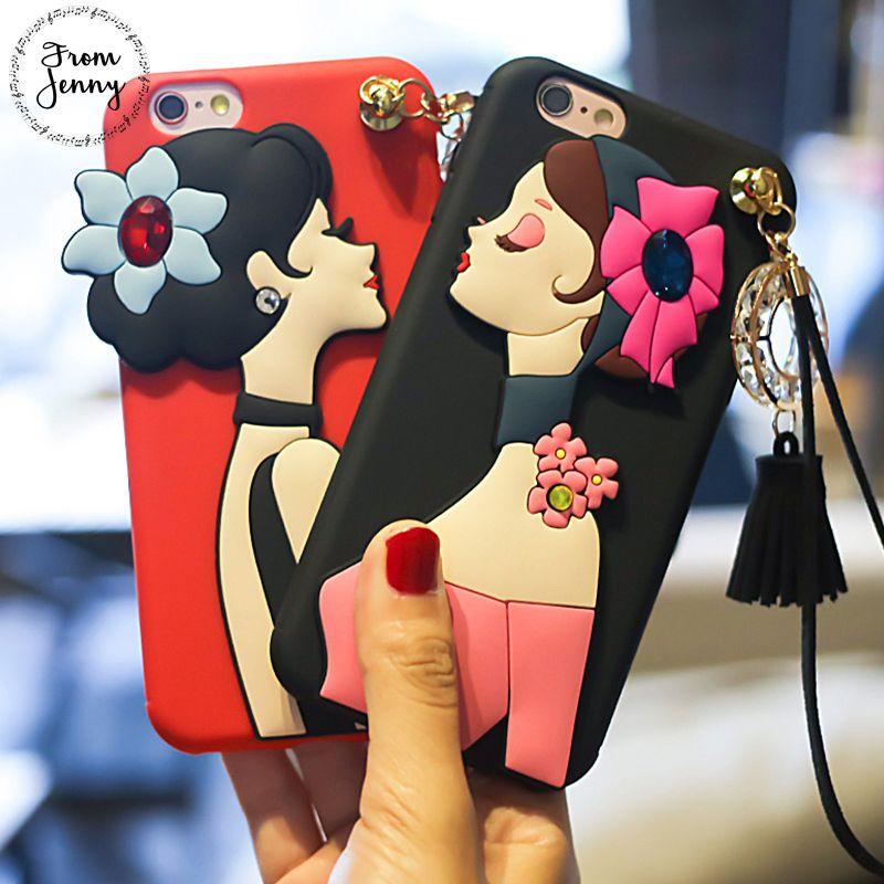 De Jenny Moderne Fille Téléphone Cas Coque pour iPhone 7 7 plus 6 6/6 s Plus Pendentif Diamant Gland pour IPhone 7 Couverture Souple Tpu