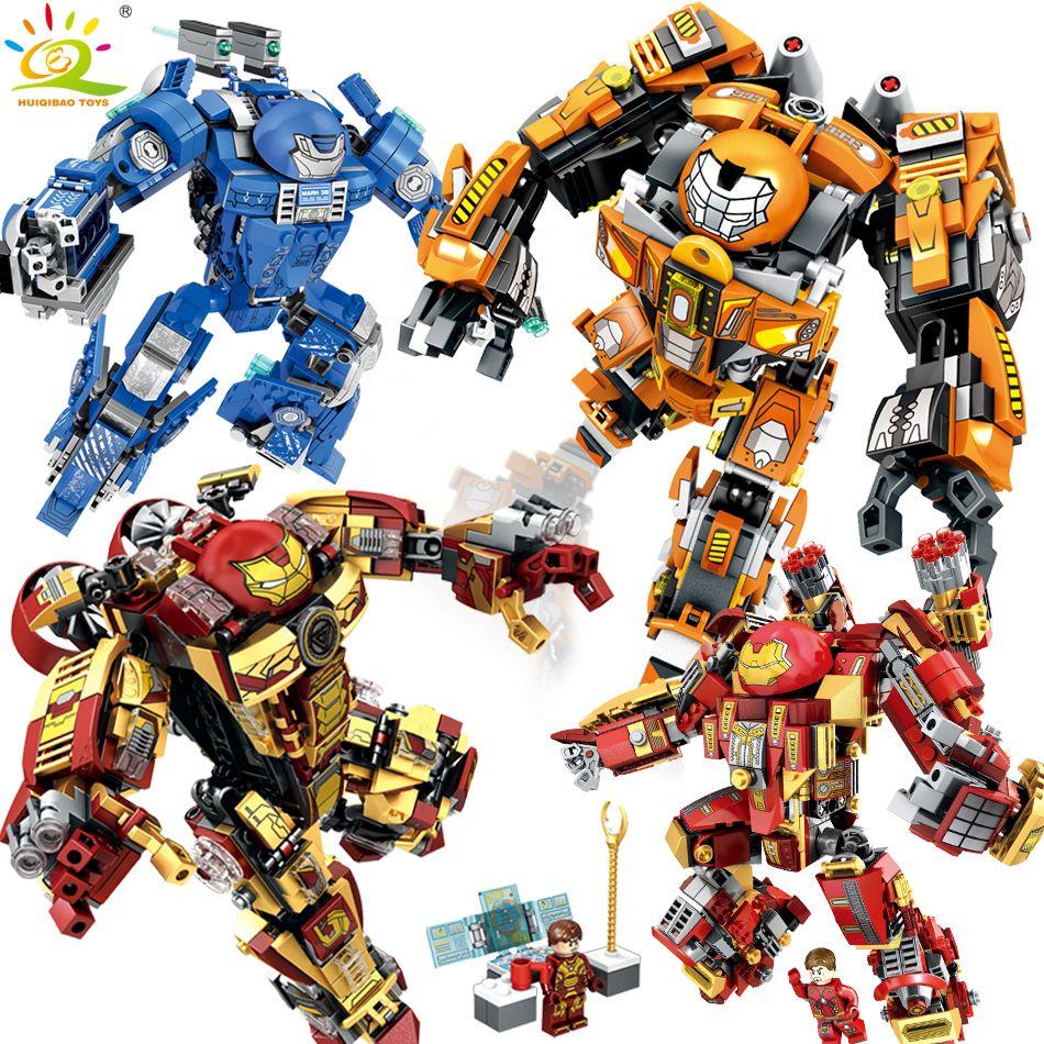Iron Man Compatible Legoed avengers Armure guerrier soldat chiffres building blocks éclairent briques jouets pour enfants amis