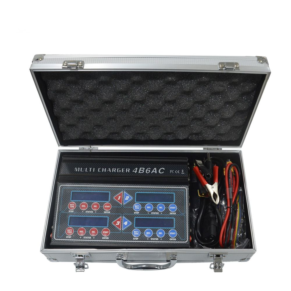 Heißer HTRC 4B6AC iMAX Quattro B6AC 5A 80 watt * 4 Professionelle RC Balance Ladegerät/Entlader Für 1- 6 s LiPo/Löwe/Lebensdauer Batterie Eingebaute AC