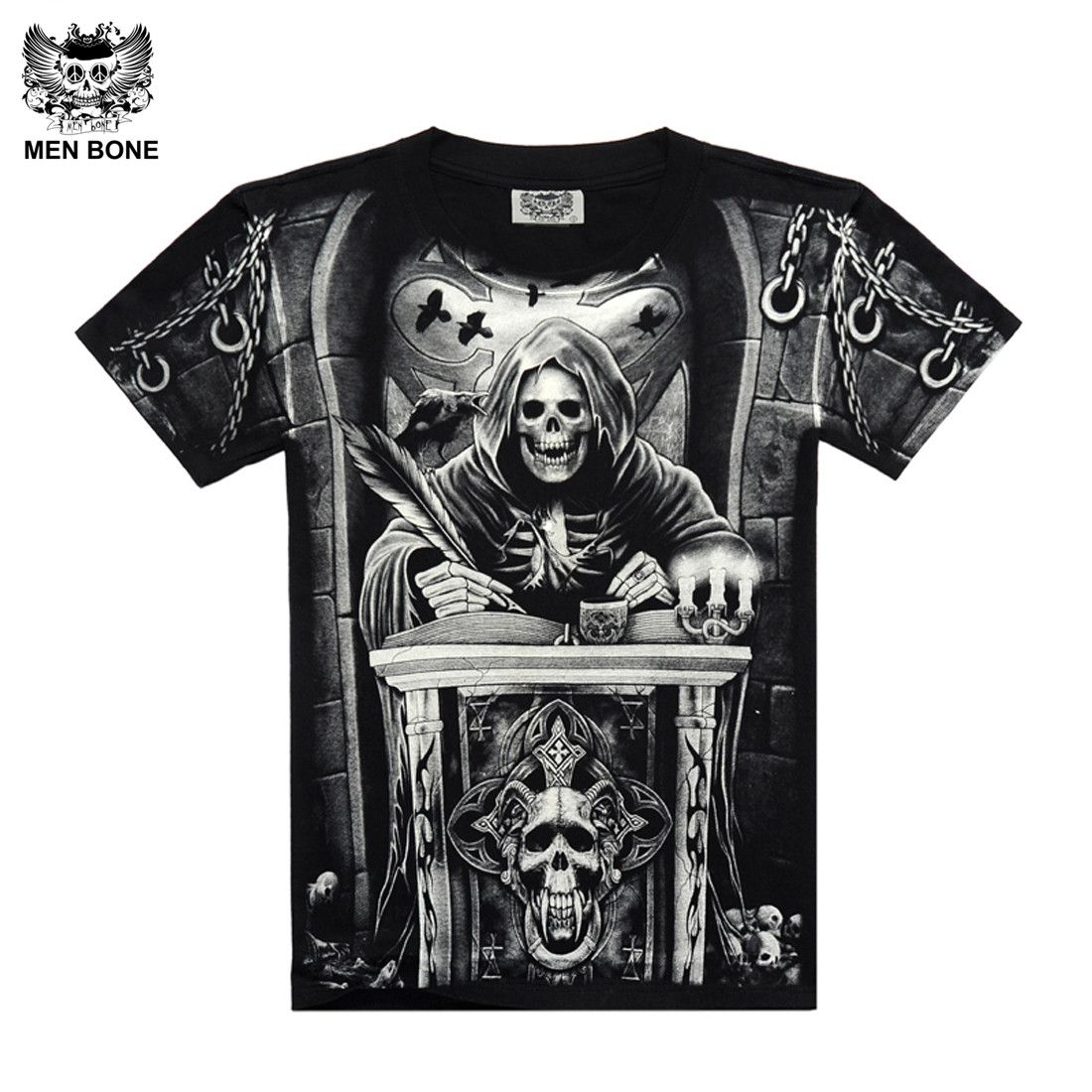 [Hommes os] Heavy Metal Style faucheuse crâne T-shirt noir Noir Imprimer shirt Hip Hop rue rock heavy metal manches