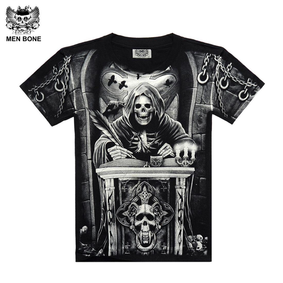 [Men bone] Heavy Metal Style grim Reaper skull Tshirt black Black Print shirt Hip Hop street rock heavy metal sleeve