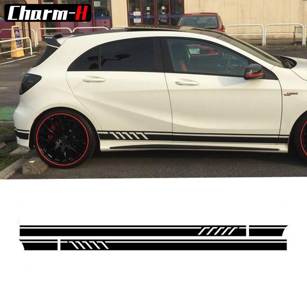 Brillant/Mat/5D Noir-Édition 1 Style Porte Side Racing Stripes Vinyle Decal pour Mercedes Benz W176 Une Classe A45 AMG A180 A200 A250