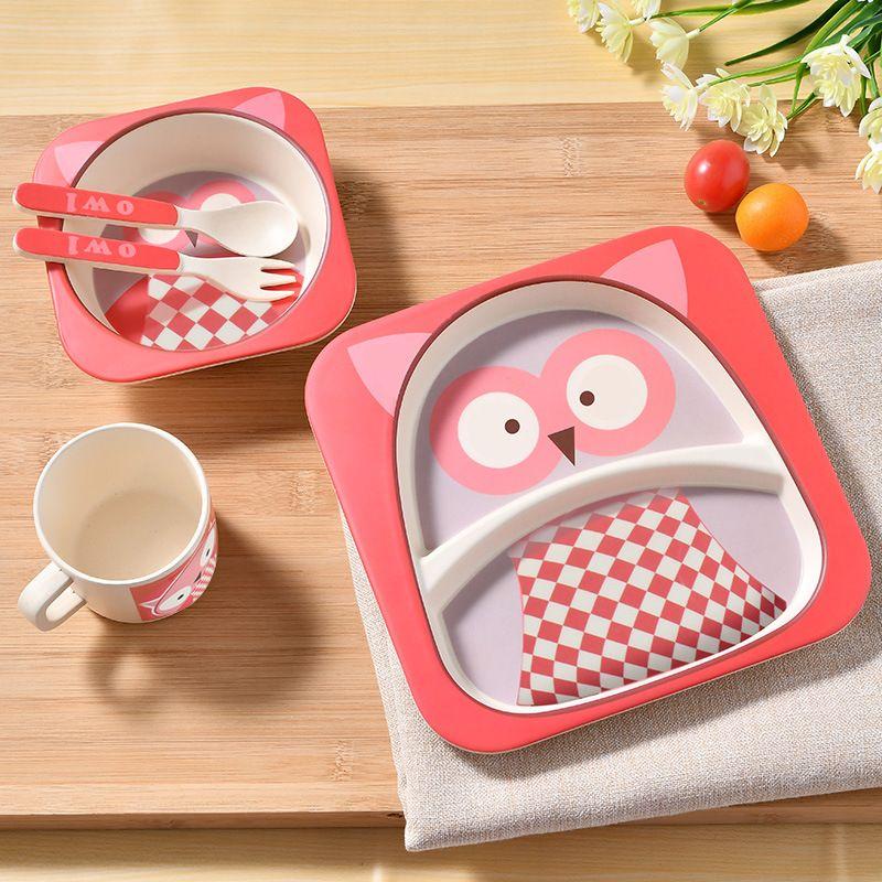 Детский набор бамбуковых тарелок, детские столовые приборы, набор детской посуды, набор тарелок, чашка для кормления, столовая ложка, вилка, ...