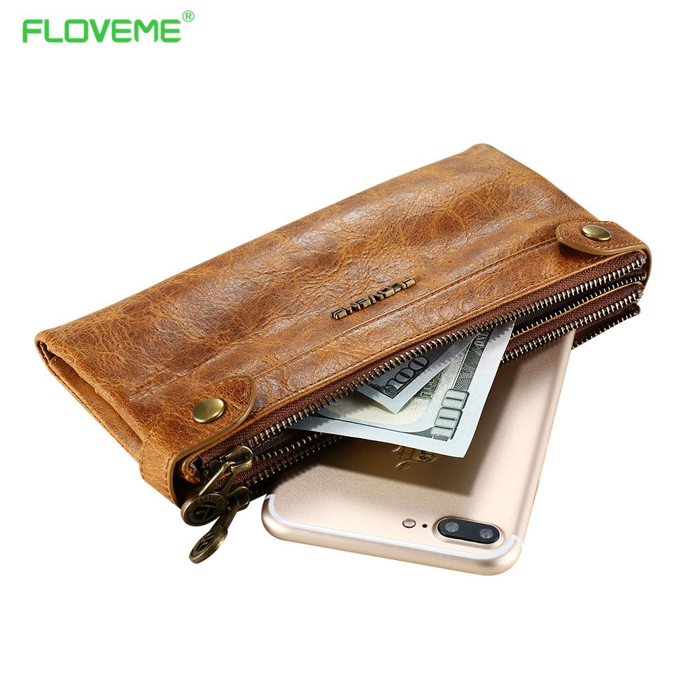 FLOVEME Genuine Leather Phone Bag For iPhone X 10 Wallet Case For iPhone 7 8 6S 6 Plus Universal Double Zipper Flip Cases Shells