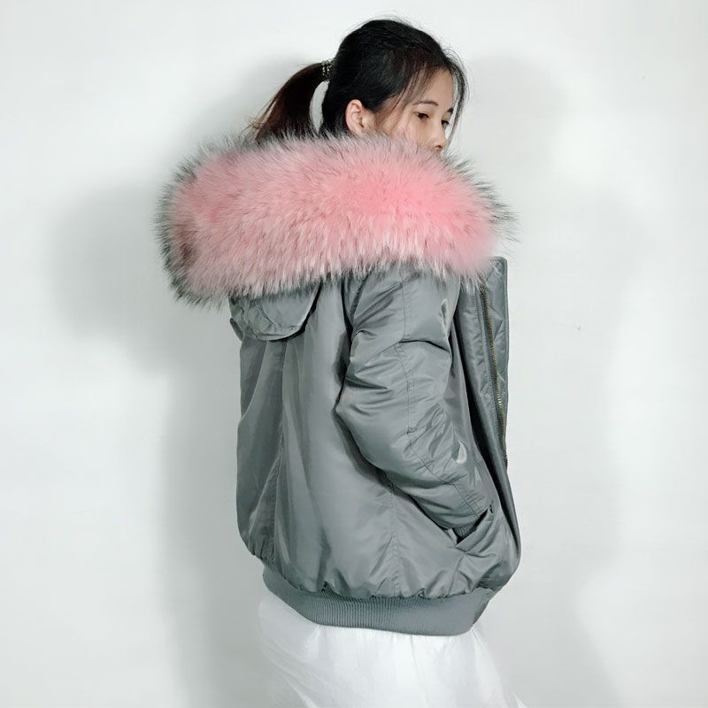 Winter New Fashion Gray color Bomber Jacket Women Light Pink faux fur liner Big Raccoon Hoodies fur Coat