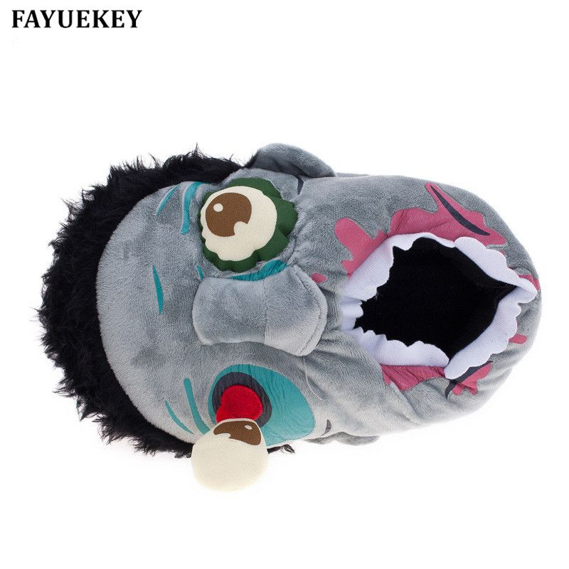 FAYUEKEY nouveau hiver maison dessin animé Halloween effrayant Zombies pantoufles amoureux coton recouvert talon arrière chaud plancher \ intérieur chaussures plates