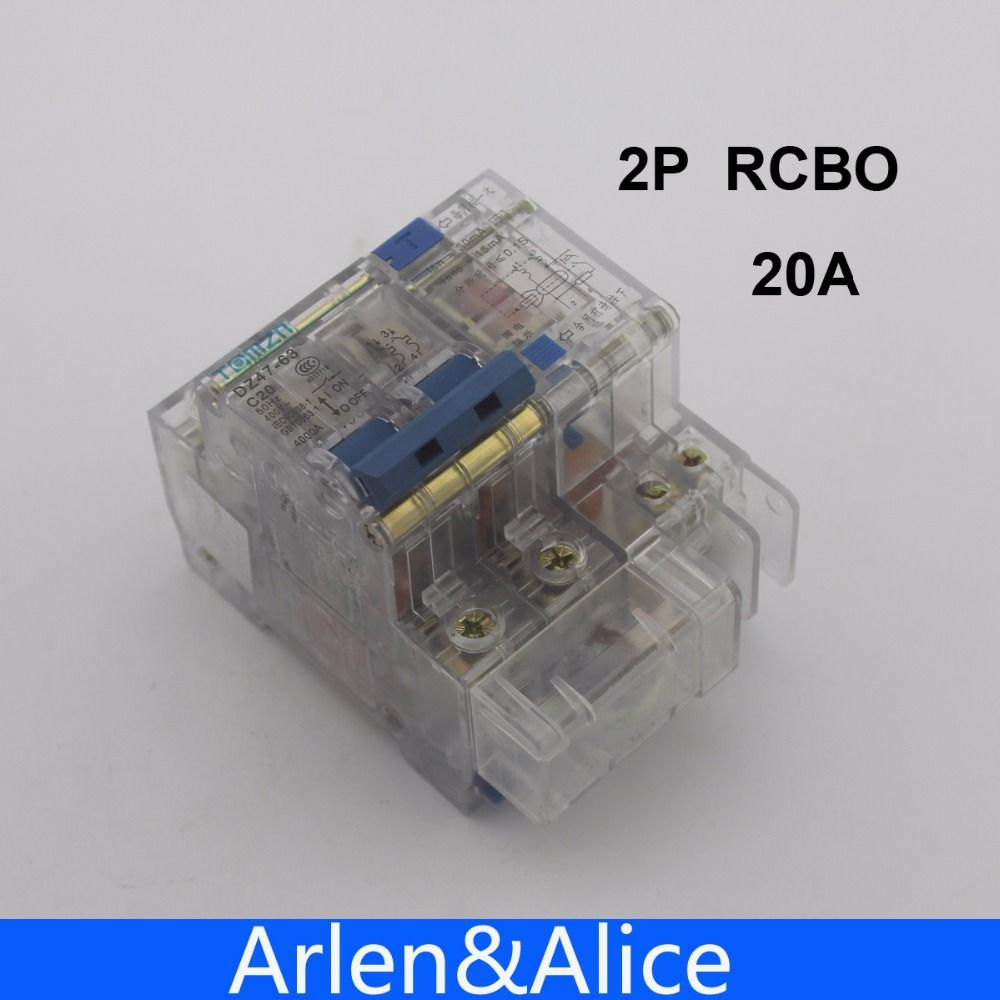 Transparent DZ47LE 2P 20A 230V~ 50HZ/60HZ Residual current Circuit breaker with over current and Leakage protection RCBO