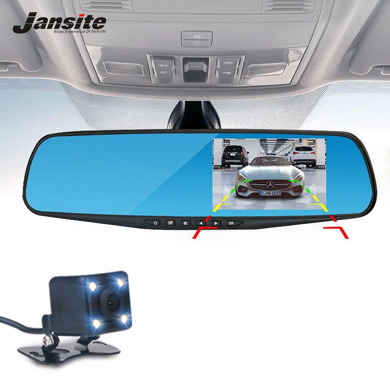 Jansite Car <font><b>Camera</b></font> Rearview Mirror Car Dvr Dual Lens Dash Cam Recorder Video Registrator Camcorder FHD 1080p Night Vision DVRs