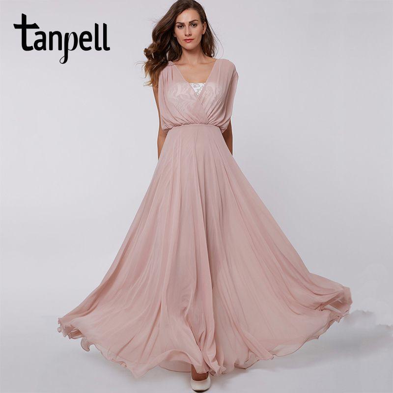 Tanpell v cuello largo vestido de fiesta sexy de color rosa de encaje sin mangas piso longitud de una línea de vestidos de partido de las mujeres de noche formal de baile vestido