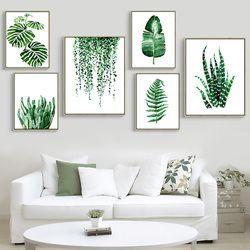 Moderne Vert Plante Tropicale Feuilles Toile Art Print Affiche, nordique Plante Verte Mur Photos Enfants Chambre Grande Peinture No Frame