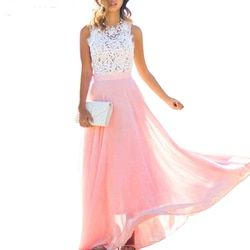 S-XXL Plus Size Women Elegant Dress Crochet Lace Chiffon Beach Dress 2018 Sexy Sleeveless Long Party Maxi Dresses Vestidos