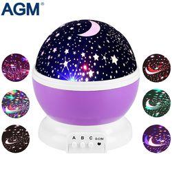 AGM LED Étoiles Étoilé Ciel Night Light Star Projecteur Lune Lampe Luminaria Nouveauté Rotatif Clignotant Veilleuse Pour Enfant Enfants Bébé