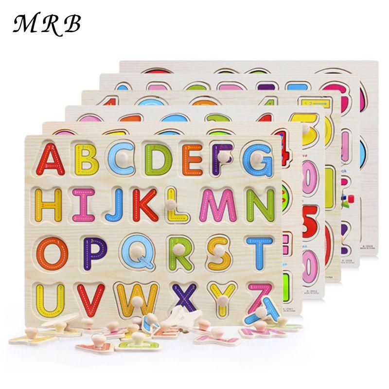 Bébé enfant début jouets éducatifs bébé main saisir en bois puzzle jouet alphabet et chiffre apprentissage éducation enfant bois puzzle jouet