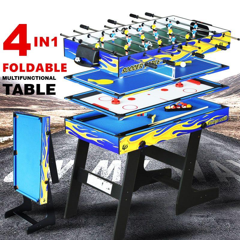 4ft Faltbare 4 in 1 Multi Spieltisch Kinder Spielen Indoor tabelle 4 Verschiedenen Spiel Pool Ball Fußball Tischtennis airhockey