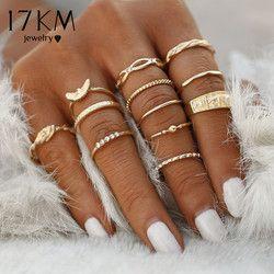 17 km 12 unid/set encanto oro color MIDI anillo de dedo Conjunto para las mujeres vintage Boho partido del nudillo Anillos joyería punky regalo para la muchacha