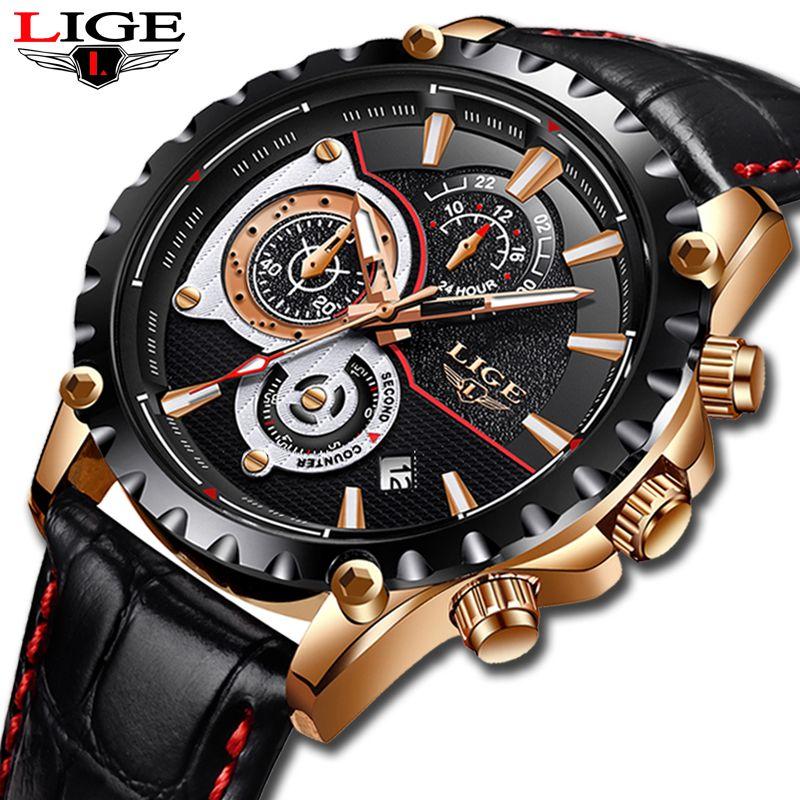 2018 New Fashion LIGE Mens Watches Men Business Waterproof Watch Date Chronograph Quartz-Watch Male Gift Clock Relogio Masculino