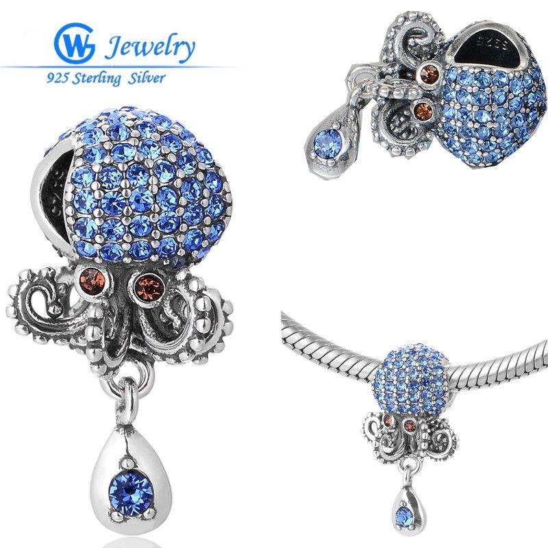 Les breloques en cristal de poulpe bleu océan pendentifs perles européennes 925 breloques en argent Sterling pour animaux Fit pendentifs Bracelet serpent S339