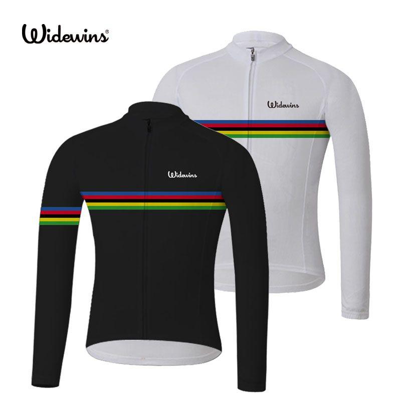 Nouveau été widevictoires champion du monde arc-en-ciel noir à manches longues cyclisme maillot 2020 vélo vêtements de vélo Ropa Ciclismo 2 couleur 8007